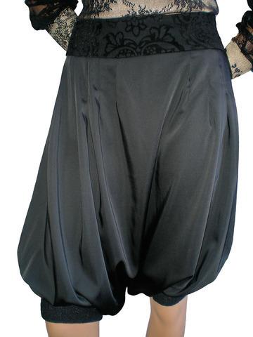 """Атласная  """"гаремная """" юбка-брюки, кокетка из шерсти с бархатным рисунком..."""